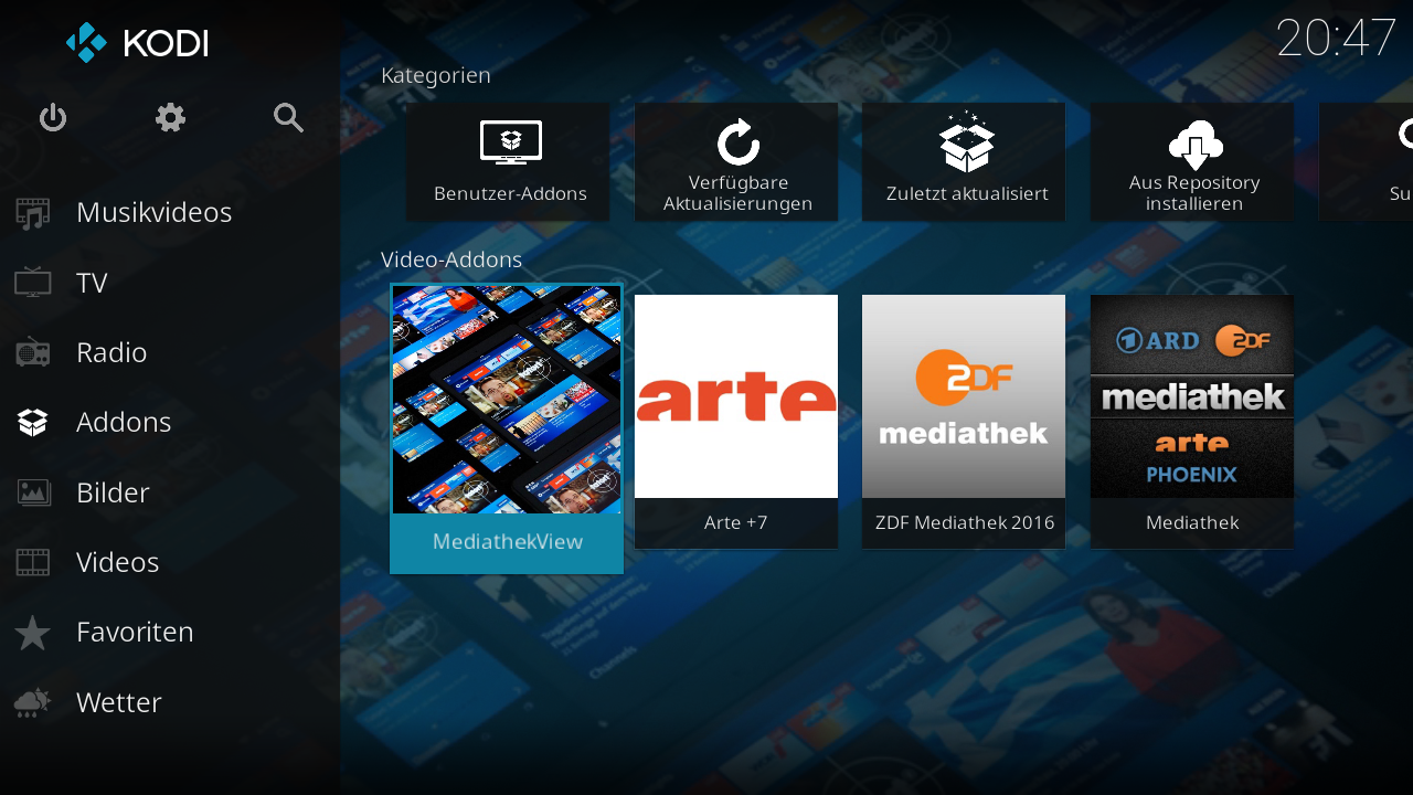 Screenshot vom Kodi-Addon - Add-on Übersicht