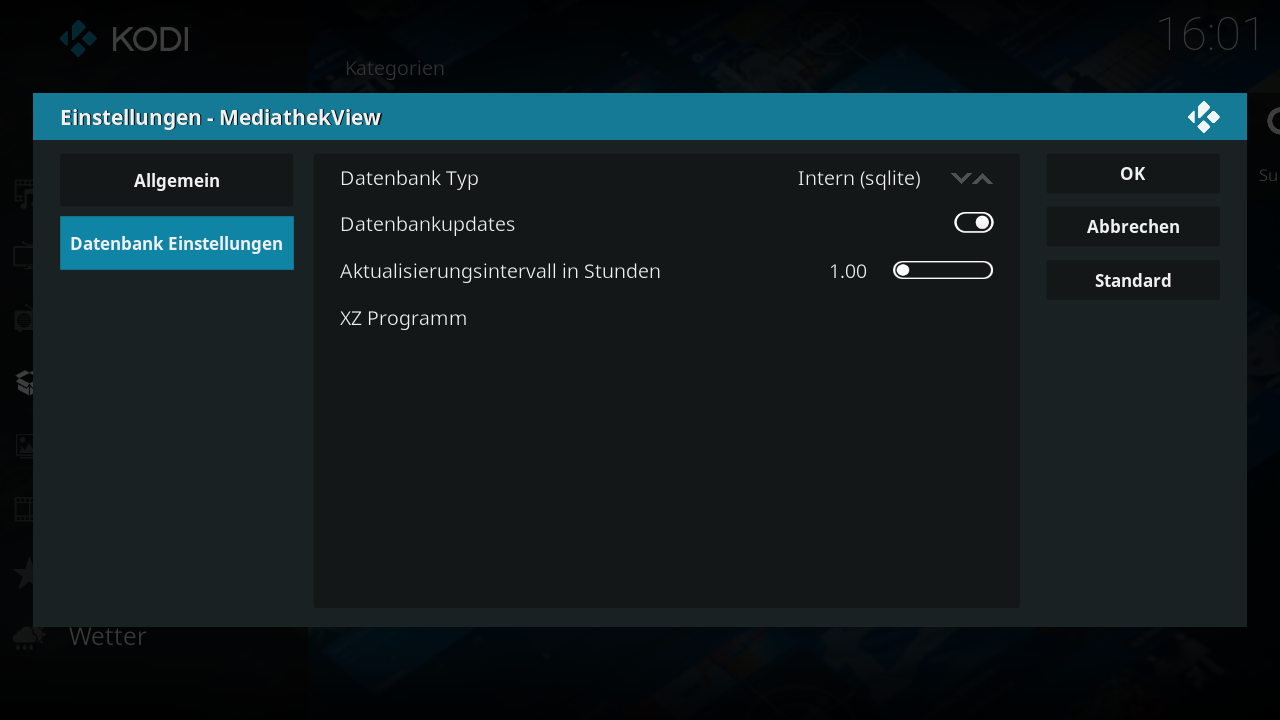 Screenshot vom Kodi-Addon - Add-on Datenbank Einstellungen