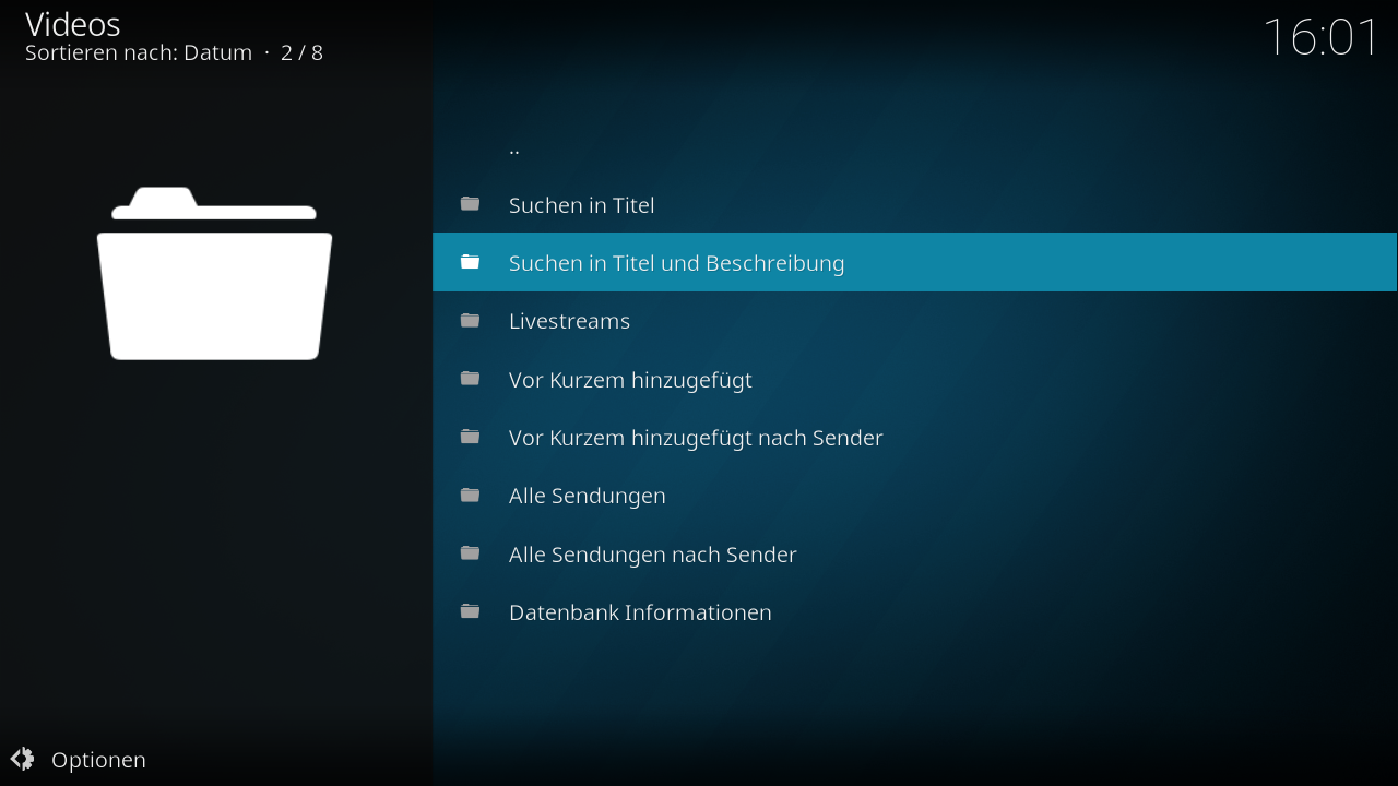 Screenshot vom Kodi-Addon - Add-on Start