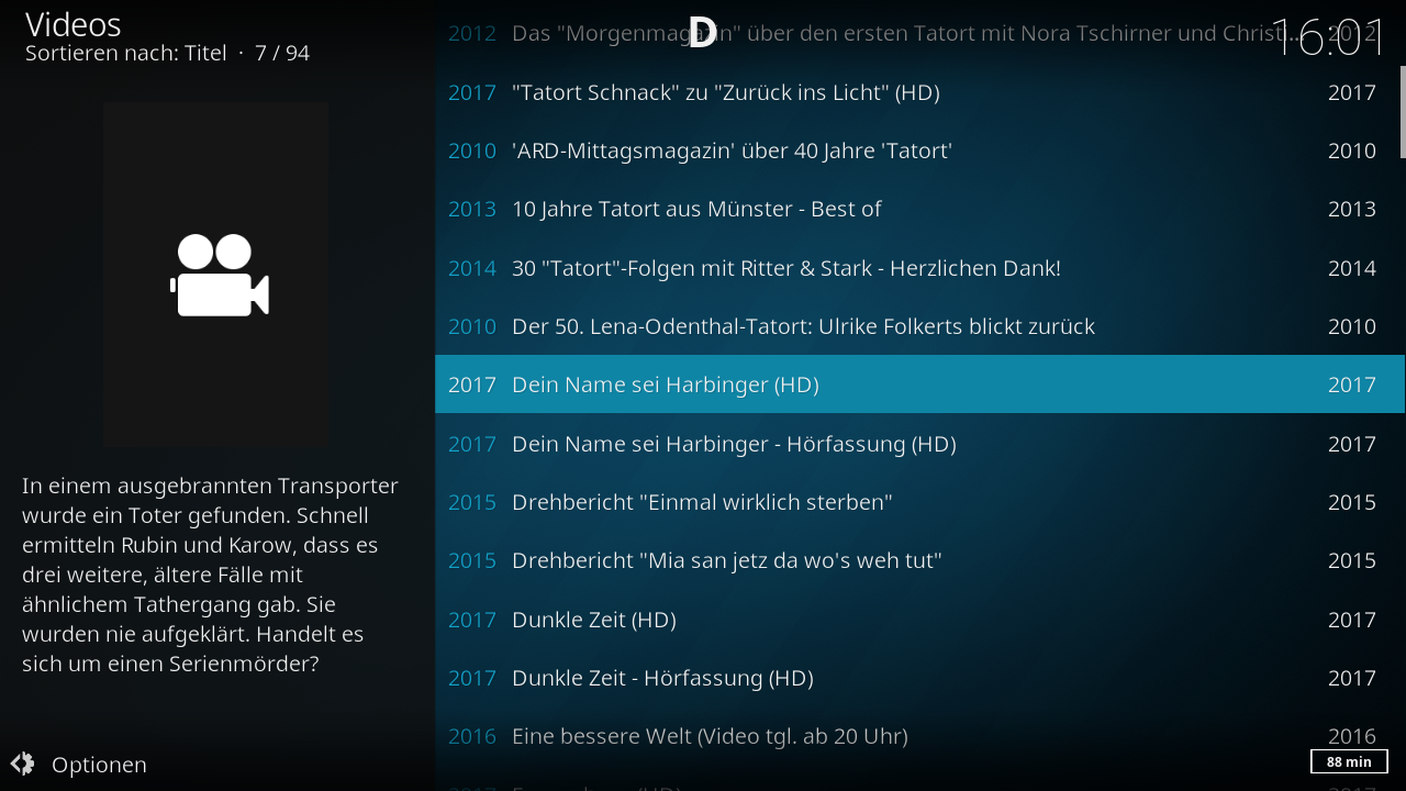 Screenshot vom Kodi-Addon - Add-on Video-Übersicht